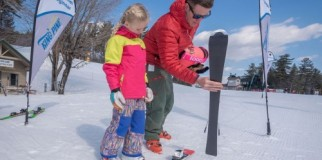 Family skiing at King Pine Ski Area