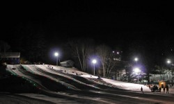 Night snowtubing at King Pine Ski Area