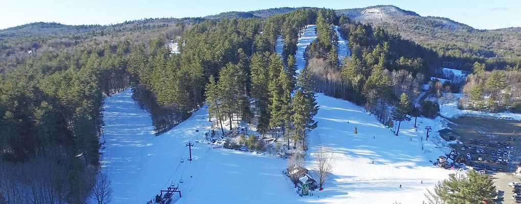 Aerial view of King Pine Ski Area