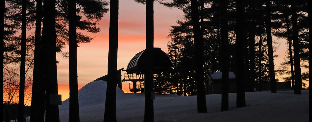 Morning sunrise at King Pine Ski Area