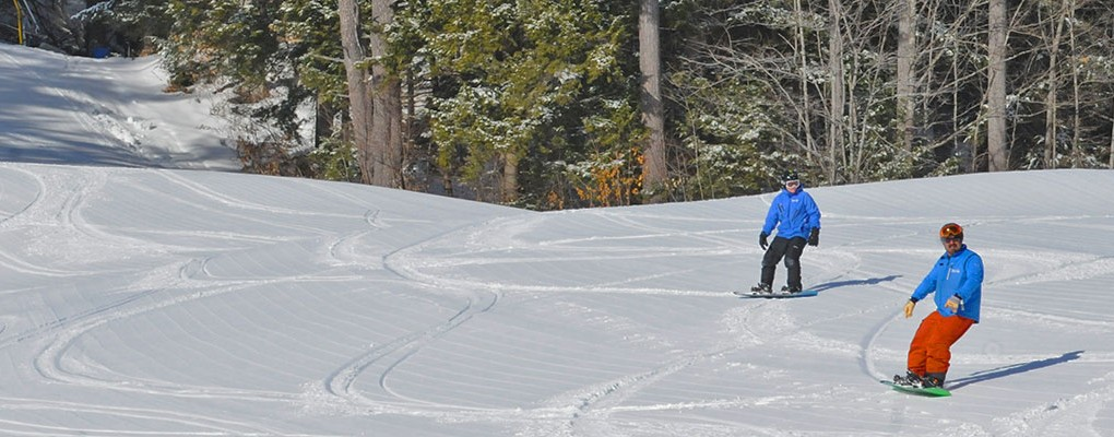 Snowboarders at King Pine